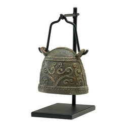 Kathy Kuo Home - Antique Reproduction Global Bazaar Livestock Cowbell Sculpture Stand #1 - This antique cow bell is reincarnated as a lovely object d'art.  Presented on a black wooden stand, this bronze piece takes on an elevated attitude more in tune with a temple bell. A great piece for rustic country or Asian influenced room.