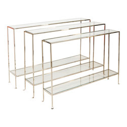 Worlds Away - Worlds Away Large Nickel Plate Console WOODARD N - Large nickel plate console with clear glass shelves.