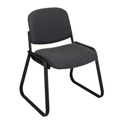 """Office Star Products - Deluxe Sled Base Armless Chair with Designer Plastic Shell - Charcoal Onyx Fabri - Deluxe Sled Base Armless Chair with Designer Plastic Shell. Thick Padded Seat and Back. Designer Plastic Shell Back. Black Finished Frame and Sled Base.; Series: Visitors Chairs; Color: Charcoal Onyx Fabric; Materials: Fabric/Metal; Thick Padded Seat and Back; Designer Plastic Shell Back; Black Finished Frame and Sled Base; GREENGUARD Certified; Dimensions: Assembled: 23""""W x 24""""D x 32""""H; Seat: 19""""W x 19.5""""D x 3.5""""Thickness; Back: 18.5""""W x 14.5""""H"""