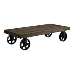 INDUSTRIAL BROWN CART WITH CASTERS COFFEE TABLE GEARY - Cart Table Geary consists of solid pine wood top mounted on antiqued immobile metal wheels. The coffee table top is painted in brown color.
