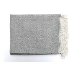 Area - Area Colin Charcoal Throw - Diamond patterned baby alpaca throw in dark grey and creme, with an exceptionally soft drape. Throw size is 51x70̨ with a fringe and is in stock now.