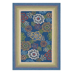 "Loloi Rugs - Loloi Rugs Zamora Collection - Blue, 3'-6"" x 5'-6"" - The Zamora Collection, made in China of 100% polypropylene, combines a hand-hooked field with a hand-braided border, for an overall look that exceeds expectations in an indoor/outdoor product. Cheerful and vibrantly colored, this collection breathesliveliness into an outdoor space."