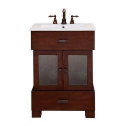 "Sagehill Designs - Sagehill Designs CN2421D Modena Citation 24"" Bathroom Vanity Cabinet - Citation 24"" Bathroom Vanity Cabinet Architectural in nature and very functional, the Citation Vanity Collection has a clean and well-planned aesthetic, making it easier to create a balanced and intelligent small bath environment. The warm Modena finish and textured glass door inserts offer a combination of design elements. Select hardwood solid and veneers give the Sagehill Designs Citation Collection a warm and welcoming feeling. Thoughtful features such as a spacious lower storage drawer, a standard portrait mirror, and mirrored medicine cabinet give these items both form and function. The Citation Vanity Collection from Sagehill Designs is styled to fit your bath environment and your modern lifestyle.   Product Features:  Overall Dimensions: 24""W x 21""D x 34""H Constructed of Maple hardwoods Maple wood veneers (real wood) Multi-step hand rubbed finish brings out the depth and beauty of the wood. Finished cabinet interior 2 door soft contemporary cabinet design Bottom full-extension drawer features ball-bearing glides (see additional images) Ample storage behind both doors and a lower drawer. Adjustable floor levelers provide ease of installation (see additional images) Scaled and proportioned for the smaller bath environment. Specially chosen decorative hardware. Textured glass door inserts (see additional images) Crated and shipped assembled"