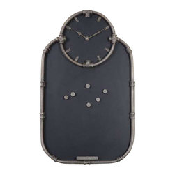 Uttermost Riveter Clock And Chalkboard - Hand forged metal finished in a burnished silver. This functional piece includes a chalkboard with tray and a clock with quartz movement. The narrow frame is hand forged metal finished in burnished silver.