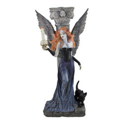 Reflective Gothic Dark Angel Holding Skull Candle Holder - This beautiful dark angel stands before a decrepit column as she contemplates human mortality. Atop the crumbling column behind her is a candle holder three quarters of an inch in diameter. The dark temptress spreads her pale black wings in a display of her own majesty. With flowing sunset orange hair, a low-top corset, and a thin twilight-purple gown, this gothic beauty is a stunning sight to behold. A curious black cat companion looks expectantly toward the skull her patroness uses to break the darkness. The wonderfully detailed piece, made from cold cast resin, measures 10 inches tall, 5 1/2 inches wide, and 3 1/2 inches deep. Use this darkly desirous candle holder to dispel the shadows with a stunning gothic accent.