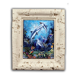 "Tile Art Gallery - ""Dolphin Find"" - Framed Ceramic Tile Mural - This gorgeous work of art was created by artist Michael Gardner and is appropriately titled ""Dolphin Find."" Through the process of dye sublimation, the image has been fused onto ceramic tile and framed in a beautiful weathered coral poly-resin frame ."