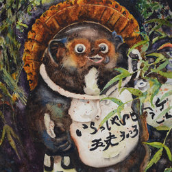 "Kyoto Tanuki, Watercolor on Archival Paper, 5"" x 7"" - Anyone who has traveled and lived in Japan can't help but be intrigued by the Tanuki, the Japanese Raccoon Dog! This animal is a subspecies of the raccoon dog native to Japan.   An artist's version in ceramic statuary is mostly seen outside of Japanese bars and cafes, to symbolize wealth and prosperity, because of some Japanese word play associated with a certain anatomical feature! (See number five below.)   Folklore legend of the Tanuki  portrays this creature as a mischievous prankster with shape shifting abilities that can take on a human form."
