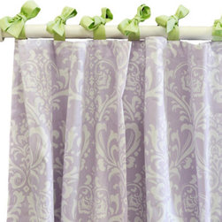 "New Arrivals - New Arrivals Curtain Panel Set Sweet Violet - Finish the room in style with curtain panels in artful colors and prints by New Arrivals. Pastel green ties add spirit to this delightful white and lavender damask, making the Sweet Violet curtain panels a stylish and sophisticated choice. Designed to coordinate with New Arrivals nursery and children's bedding. Optional standard or blackout curtain lining is available for an additional cost. Set of 2 curtain panels in lavender damask. Each panel measures 52""W x 84""L (not including ties). Length of curtains can be customized by contacting shop@laylagrayce.com. Handmade in the USA. Due to its custom nature, this order is a final sale"