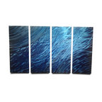"""Miles Shay - Metal Wall Art Decor Abstract Contemporary Modern Sculpture- Ocean 36"""" - This Abstract Metal Wall Art & Sculpture captures the interplay of the highlights and shadows and creates a new three dimensional sense of movement as your view it from different angles."""