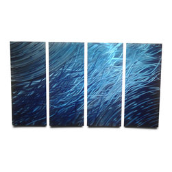 "Miles Shay - Metal Wall Art Decor Abstract Contemporary Modern Sculpture- Ocean 36"" - This Abstract Metal Wall Art & Sculpture captures the interplay of the highlights and shadows and creates a new three dimensional sense of movement as your view it from different angles."