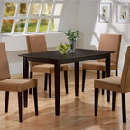 """Wildon Home � - Ferndale 5 Piece Dining Set - This pretty dining table and chair set will be a perfect addition to your casual contemporary dining room. The simply styled table features a smooth rectangular top, above sleek square tapered legs. Built on a smaller scale, this table is perfect for a small home or apartment. The matching parson style side chairs have simple high backs and padded seats covered in rich deep mocha colored microfiber, above sleek square tapered legs. These durable and comfortable chairs will blend easily with your decor to create a warm and relaxing dining environment. Place this dining set in your home for the perfect casual dining solution. Features: -Set includes table and 4 side chairs. -Contemporary style. -Constructed of hardwood solids and veneers. -Square tapered legs, smooth edges, clean lines. -Smooth tops with smooth edges. Dimensions: -Table: 29"""" H x 47"""" W x 30"""" D. -Chair: 37"""" H x 17"""" W x 21"""" D."""