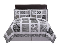 Pem America - Black and White Window Pane King Quilt with 2 Shams - Classic quilt pattern updated with blank and white floral and block prints. Includes 1 king size quilt 108x90 inches and 2 pillow shams. 100% cotton face cloth with 94% cotton / 6% other fiber fill.  Reverse is 100% microfiber polyester. Machine washable.