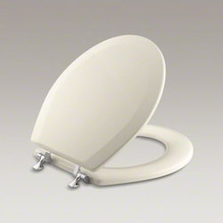 KOHLER - KOHLER Triko(TM) round toilet seat with Polished Chrome hinges - With durable construction and a straightforward design, this Triko round-front toilet seat is an ideal choice for the bathroom. Compression-molded wood resists cracking and offers a substantial look and feel.