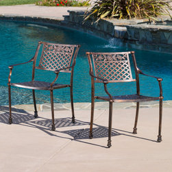Christopher Knight Home - Christopher Knight Home Sebastian Cast Outdoor Chair (Set of 2) - The antique shiny copper finish is neutral to match any outdoor furniture and will hold up in any weather condition. Whether in your backyard,patio,deck or even your restaurant outdoor dining space,you'll enjoy these chairs for years to come.