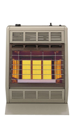 """Empire Comfort - Vent-Free Infrared Heater SR18TLP - Liquid Propane - Empire Heating Systems Radiant models produce an infrared """"radiant"""" heat that instantly adds warmth to you and objects in the room just like the sun. The thermostat on lets SR-18T you easily maintain a convenient """"hands-free"""" temperature all day and night."""