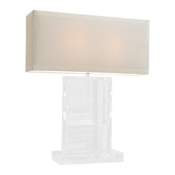 """Global Views - Crystal Slab Lamp - Sophisticated crystal lamp. Holds two 60W """"A"""" lamp bulbs, 8' clear silver cord, switch on cord.  Hardback rectangular shade covered in ivory silk."""