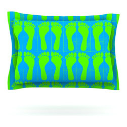 "Kess InHouse - Sreetama Ray ""Footprints Green"" Blue Aqua Pillow Sham (Cotton, 40"" x 20"") - Pairing your already chic duvet cover with playful pillow shams is the perfect way to tie your bedroom together. There are endless possibilities to feed your artistic palette with these imaginative pillow shams. It will looks so elegant you won't want ruin the masterpiece you have created when you go to bed. Not only are these pillow shams nice to look at they are also made from a high quality cotton blend. They are so soft that they will elevate your sleep up to level that is beyond Cloud 9. We always print our goods with the highest quality printing process in order to maintain the integrity of the art that you are adeptly displaying. This means that you won't have to worry about your art fading or your sham loosing it's freshness."