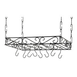 Concept Housewares - Scrolled Iron Pot Rack, Black Metal - Dimensions:   24 L x 16 W x 3 H inches