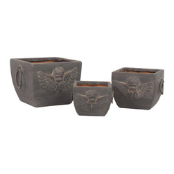 AA Importing - Patio & Garden Ceramic Planter w Cherub Desig - Angels will always be watching over you and your home when you enhance your garden with this three-piece ceramic planter set, featuring a lovely cherub design. The set has a vintage look enhanced by a dark outer finish with red interiors and metal ring style handles. Set of 3. Dark finished with Red interior. Metal ring handles. Raised cherub design. Set includes small, medium and large ceramic planters. Small: 4.5 in. L x 4.5 in. W x 4 in. H. Medium: 6 in. L x 6 in. W x 5 in. H. Large: 7.5 in. L x 7.5 in. W x 6 in. H