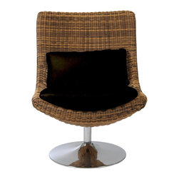 Euro Style - Euro Style Fenia Swivel Chair X-EP12110 - This chair is positively exotic.  It's a strong woven form holding a comfy black cushion.  The chrome swivel base is a surprise, and a huge supporter of deep thought and napping.