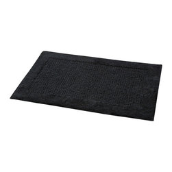 Prestige Cotton Bath Rug Karma Black - This prestige cotton bath rug Karma is 100% cotton. Ultra-soft, deep, and inviting, this bath mat is a rug you can luxuriously sink your toes in and will give a sophisticated look to any bathroom. This beautiful bath rug features an eye-catching design with its outlined plush border. It provides a soft, cushioned feel, shock absorption and is durable. Manufacturer recommends using a nonskid pad beneath the rug (not included). Hand wash and no dryer. Indoor use only. Width 20-Inch and length 31.5-Inch. Color black. Enhance your bathroom decor with this handsome prestige bath rug and add an understated elegance to your space. Imported.