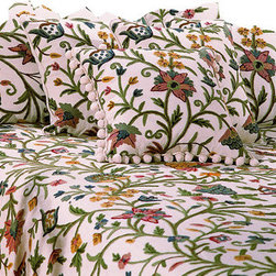 Crewel Fabric World - Crewel Bedding Tree of Life Multi-Color on White Cotton, Standard Sham - Artisans in a remote mountain village in Kashmir crewel stitch these blossoms, vines and leaves by hand, resulting in a lush pattern of richly shaded wool yarns on Linen, Cotton, Velvet, Silk Organza, Jute. Also backed in natural linen, Cotton, Velvet Silk Organza, Jute with a hidden zipper.