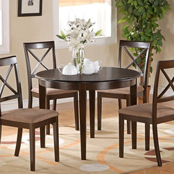 """East West Furniture - Boston 5Pc Set with Round Table and 4 Microfiber Seat Chairs in Cappuccino - Boston 5Pc Set with Round Table and 4 Microfiber Upholstered Seat Chairs in Cappuccino; Round dinette or kitchen table with 4 straight legs; Contemporary styling features clean, simple lines to match any decor; Crafted from durable Asian solid woods; Available finishes include rich cappuccino stain; Stylish X back chairs available with choice of wood seats or upholstered seats; Space-saving round tables make the perfect solution for small kitchen or dining nook seating; Weight: 121 lbs; Dimensions: Table: 42""""L x 42""""W x 30""""H; Chair: 17.5""""L x 17.5""""W x 38.5""""H"""