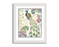 MonDeDe - Peacock Fantasy III - This vivid painting leaps off the wall with deep hues of turquoise, royal blues, pinks, purples and more. The regal peacock drips with bright colors creating a showstopper for your room.