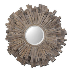 Uttermost - Vermundo Rustic Wood-Framed Circular Mirror, 43x43 - The  Vermundo  rustic  wood  mirror  gives  you  the  look  and  feel  of  a  rustic  barnwood  mirror,  but  the  circular  design  makes  it  completely  modern.  A  wide,  14  inch  frame  features  shim-style  wood  spokes  extending  from  a  center  round  beveled  mirror.  When  you're  looking  for  a    uniquely  designed  accent  piece  for  decorating,  consider  this  distressed  wood  mirror.    A  light  walnut  stain  with  burnished  edges  brings  out  the  color  and  texture  of  each  wood  piece.  Inside  mirror  is  beveled.