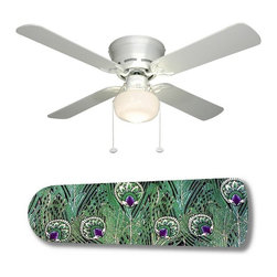 """Peacock Paradise 42"""" Ceiling Fan and Lamp - 42-inch 4-blade ceiling fan with a dome lamp kit that comes with custom blades. It has a white flushmount fan base. It has an energy efficient 3-speed reversible airflow motor for year long comfort. It comes with complete installation/assembly instructions. The blades can be cleaned with a damp cloth. It is made with eco-friendly/non-toxic products. This is brand new and shipped in the original box. This is not a licensed product, but is made with fully licensed products. Note: Fan comes with custom blades only."""