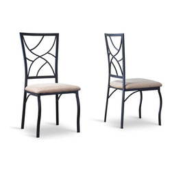 Baxton Studio - Baxton Studio Valletta Wood and Metal Transitional Dining Chair-Set of 2 - A rising and falling branch-like chair-back design offers distinctive styling at a discount price in our Valletta Wood and Metal Transitional Dining Chair. Combining eye-catching antique-black metal and comfortable beige upholstery, this dining chair celebrates the contemporary dining experience with a nod to the classic era