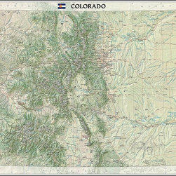 Magic Murals - Colorado State Map Wall Mural  -- Self-Adhesive Wallpaper in Various Sizes by Ma - A map of the state of Colorado. Artwork. National Geographic Collection / NG Maps 2011.