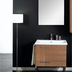 Iotti - 30 Inch Bathroom Vanity Set - Italian styling and craftsmanship are at the heart of this imported vanity set. Available in Glossy White, Wenge, Teak, Gray Oak and Natural Oak waterproof finishes, you can choose just the right look for your d�cor. There's easy access storage behind the offset double doors and in the wide drawer, all with soft close mechanisms for lower noise and longer life. The five layer mirror is scratch and corrosion resistant. Enjoy four full inches of shelf space on the fitted sink top. Comes complete with vanity light. Set Includes: . Vanity Cabinet (2 doors, 1 drawer). Fitted ceramic sink (31.5 inch x 15.2 inch ). Mirror (30.4 inch x 27.7 inch ). Vanity Light. Vanity Set Features:. Vanity cabinet made of engineered wood. Cabinet features waterproof panels. Available in Natural Oak (as shown), Wenge, Gray Oak, Teak, Glossy White. Cabinet features 2 doors, 1 soft-closing drawer. Faucet not included. Towel bar not included. Perfect for modern bathrooms. Made and designed in Italy. Includes manufacturer 5 year warranty.