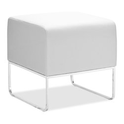ZUO MODERN - Plush Ottoman White - This versatile ottoman is contemporary and compact, upholstered in leatherette that stands up to high traffic. Understated chromed steel tube legs complete the Plush ottoman.