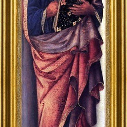 """Jacopo Bellini-14""""x28"""" Framed Canvas - 14"""" x 28"""" Jacopo Bellini St John the Evangelist framed premium canvas print reproduced to meet museum quality standards. Our museum quality canvas prints are produced using high-precision print technology for a more accurate reproduction printed on high quality canvas with fade-resistant, archival inks. Our progressive business model allows us to offer works of art to you at the best wholesale pricing, significantly less than art gallery prices, affordable to all. This artwork is hand stretched onto wooden stretcher bars, then mounted into our 3"""" wide gold finish frame with black panel by one of our expert framers. Our framed canvas print comes with hardware, ready to hang on your wall.  We present a comprehensive collection of exceptional canvas art reproductions by Jacopo Bellini."""