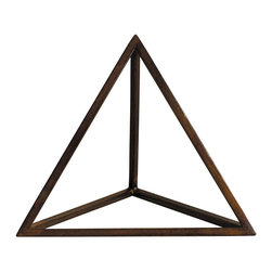 """Inviting Home - Platonic Figure - Fire - Platonic figure - Fire; 8-1/2"""" x 8-1/8"""" x 7-1/2""""H; The Element - Fire; a Platonic figure of 4 triangles (Tetrahedron). From delicate pieces of wood skilled craftspeople hand construct these fragile forms truly resembling the beauty and harmony of nature's perfection."""