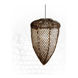 Tucker Robbins Pod Light - The shape of this lamp was inspired by the form the Toraja women of Indonesia wove out of rattan to catch fish. Now, these beautiful woven lamps are made by Indonesian artisans using the same authentic techniques. The pendant is available with or without rice paper, which can create a softer glow.