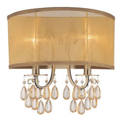 Crystorama - Crystorama 5622-AB Hampton 2 Light Wall Sconces in Antique Brass - Crystorama's very popular Hampton Collection offers fashion forward designs with soft crystal accents. The Gold Silk Shimmer shade along with the antique brass finish allows this collection to fit any transitional to contemporary room.