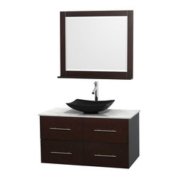 "Wyndham Collection - Centra 42"" Espresso Single Vanity, White Carrera Marble Top, Black Granite Sink - Simplicity and elegance combine in the perfect lines of the Centra vanity by the Wyndham Collection. If cutting-edge contemporary design is your style then the Centra vanity is for you - modern, chic and built to last a lifetime. Available with green glass, pure white man-made stone, ivory marble or white carrera marble counters, with stunning vessel or undermount sink(s) and matching mirror(s). Featuring soft close door hinges, drawer glides, and meticulously finished with brushed chrome hardware. The attention to detail on this beautiful vanity is second to none."