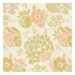 Peach & Green Stencil Floral Linen Fabric - Feminine stenciled floral in pastel peach, green & taupe on a softly heathered linen ground. So serene, you'll want to relax & smell the flowers.Recover your chair. Upholster a wall. Create a framed piece of art. Sew your own home accent. Whatever your decorating project, Loom's gorgeous, designer fabrics by the yard are up to the challenge!