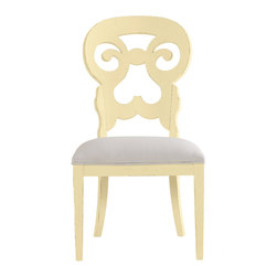 Stanley Furniture - Coastal Living Cottage Wayfarer Side Chair - Lemon Twist Finish - Like the old bistro chairs outside the coastal candy shoppe, these cut-back chairs bring an easy smile to any table. Upside down heart motif gives a kiss to your lower back, while the open top section is perfectly sized to fit your palm. Made to order in America.