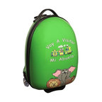 """Mercury Luggage - Children's Carry-on Luggage in Green - Logo in Spanish. Carry-on approved. Clear in-line wheels. Lined interior . Internal zippered divider . Fun, bright and durable. 12 in. L x 9 in. W x 18 in. H (4 lbs)They will enjoy the pictures of the animals on the front and back and so will the Parents & Grandparents. It has a a push button adjustable telescopic handle & pulls out to (18 in. or 10 in.), and a top center carry handle, 2.5 in. Clear Plastic in-line skate wheels with protective guards. On the bottom is a foot-support for stand alone balance, has a """"U"""" shaped zipper opening. The inside has has nylon lining, tie down straps on one side with a """" U """" shaped zipper on the other side to protect personal items."""