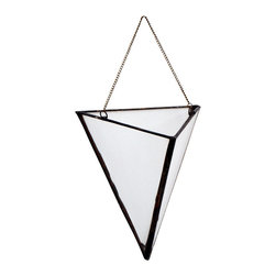 Open Pyramid Terrarium Vase/Window Box, Large, Brass Chain - The terrarium wall vases are made from hand cut glass, lead free solder and brass findings. Each vase is carefully built by hand and made water tight so you can preserve fresh cut flowers and herbs or keep it mostly dry by planting succulents!