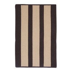 Colonial Mills, Inc. - Indoor/Outdoor Boat House, Brown Rug, Sample Swatch - This brown and beige striped rug looks down to earth and practical, and it is. The braided synthetic fibers are stain and fade resistant, designed to take some use from foot traffic or weather exposure. Try it in the workshop, the greenhouse or on the deck.