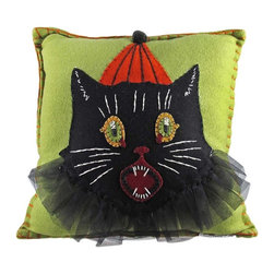 Zeckos - Bethany Lowe Sassy Cat Halloween Throw Pillow - This wonderful 12 inch by 13 inch Folk Art Halloween accent pillow, by Bethany Lowe Designs, is perfect for accenting decor on couches, chairs and beds. Made of wool, it features a scared black cat in a clown outfit, against an olive green background. The  edges of the pillow are stitched with heavy orange thread. It's great for Halloween or all year long.