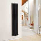 Hudson Reed - Traditional 8 x 2 Column Radiator Cast Iron Style Black 71 x 15 - This cast iron style radiator, with a high quality high gloss black powder coat finish (RAL 9005), has 8 vertical double columns that give a massive heat output of 1,464 Watts (4,992 BTUs) When combined with a set of modern valves, this up-to-date version of a classic radiator design is an ideal complement to contemporary settings, but also fits in well with traditional décor. This versatile radiator is compatible with all domestic central heating systems, will connect with your existing pipe work and is supplied complete with a wall mounting kit. For a truly authentic look, combine this traditional-style radiator with a Hudson Reed floor mounting kit (HXB00).  Traditional Column Radiator Cast Iron Style Black 71 x 15 Details   Dimensions: (H x W x D) 71 (1800mm) x 15 (383mm) x 2.7 (68mm) Projection When Fitted: 4.5 (115mm) Output: 1,464 Watts (4,992 BTUs) Material: Steel Finish: High GLoss Black Powder Coat (RAL 9005) Columns: 8 x 2 Wall Mounting Brackets Included Please note: Angled Radiator Valves are required, please choose either modern or traditional radiator valves.  5 Year Guarantee on materials and finish Please Note: Our radiators are designed for forced circulation closed loop systems only. They are not compatible with open loop, gravity hot water or steam systems.
