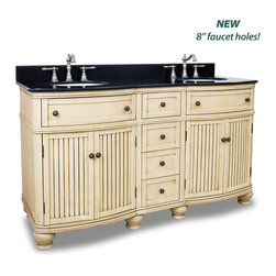 "White Bathroom Vanities - Hardware Resources VAN028D-60E - Compton Buttercream 60"" Double Bathroom Vanity With Preassembled Top And Bowl By Bath Elements"
