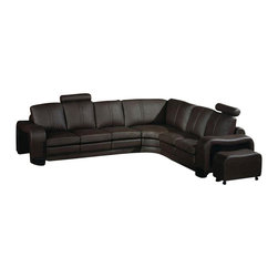 VIG Furniture - 3330 Brown Top Grain Italian Leather Sectional Sofa Set - The 3330 sectional sofa will look great once placed within your living room with it's modern look. This sectional sofa comes upholstered in a beautiful black top grain Italian leather in the front where your body touches. Skillfully chosen match material is used on the back and sides where contact is minimal. High density foam is placed within the sofa set for added comfort. This sectional comes with matching moveable foot stools and a coffee table.