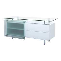 "White Line Imports - Ema High Gloss White Buffet with Sliding Frosted Glass Door - Designed to bring not only function, but also provide an elegant and fashionable feel, the Ema Buffet by White Line Imports comes with durable construction in high gloss white finish, 1/2"" tempered clear glass top that is perfect for displaying your dining accessories, and sliding frosted glass door."