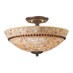 Elk Lighting - Elk Lighting Roxana Semi-Flush Mount Ceiling Fixture in Aged Bronze - Shown in picture: named after the Philippine province of capiz from which the vast amount of the world's supply comes from - capiz shells have been used for centuries to accent furniture and accessories. The tranquil beauty and soft luster of these shells are transformed into brilliant mosaics in the Roxana Collection. Carefully cut and pieced together onto glass - each shell is all natural and contains random hues and lusters that contribute to its depth and beauty. This becomes apparent when lit - as the shell's translucency allows its characteristics to show through. Embedded within the mosaic is an attractive ring of amber and rose glass beads adding contrast and jewel-like qualities. Choose from polished chrome or aged bronze finishes.